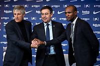 14th January 2020; Camp Nou, Barcelona, Catalonia, Spain; Press Conference for the introduction of the new manager Barcelona manager Quique Setien; Quique Setien with Josep Maria Bartomeu and Eric Abidal - Editorial Use