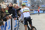 Lithunian National Champion Bagdonas Gediminas (LTU) AG2R La Mondiale chats with fans at sign on before the 2019 Gent-Wevelgem in Flanders Fields running 252km from Deinze to Wevelgem, Belgium. 31st March 2019.<br /> Picture: Eoin Clarke | Cyclefile<br /> <br /> All photos usage must carry mandatory copyright credit (© Cyclefile | Eoin Clarke)