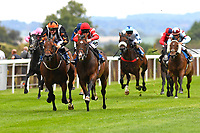 Winner of The Shadwell Stud Racing Excellence Apprentice Handicap Fortune and Glory (red cap)  ridden by William Carver and trained by Joseph Tuite  during the Bathwick Tyres & EBF Race Day at Salisbury Racecourse on 6th September 2018
