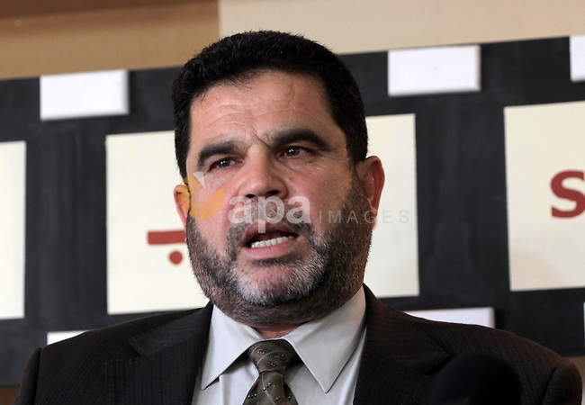 A Hamas leader,Salah Al-Bardawel delivers speech during a press conference around the assassination of Hamas commander Mahmoud al-Mabhouh, in Gaza City on February 20, 2010. Photo by Mohammed Asad