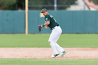 Oakland Athletics shortstop Jeremy Eierman (10) prepares to make a throw to first base during an exhibition game against Team Italy at Lew Wolff Training Complex on October 3, 2018 in Mesa, Arizona. (Zachary Lucy/Four Seam Images)