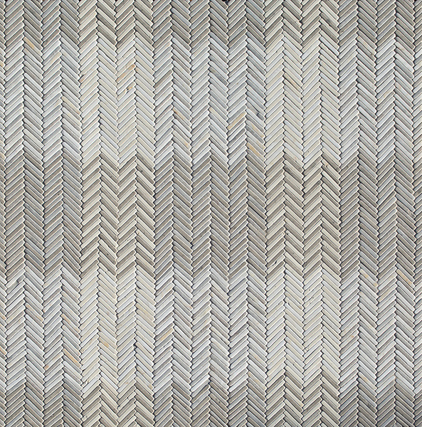 Gingham, a hand-cut tumbled mosaic, shown in Cashmere, Palomar, Bianco Antico, and Cloud Nine, is part of the Tissé® collection for New Ravenna.