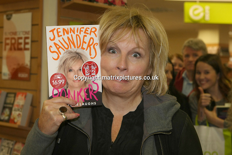 NON EXCLUSIVE PICTURE: MATRIXPICTURES.CO.UK<br /> PLEASE CREDIT ALL USES<br /> <br /> WORLD RIGHTS EXCEPT IRELAND<br /> <br /> English comedian and actress Jennifer Saunders is pictured during her book signing at the Easons book store in Dublin, Ireland. <br /> <br /> NOVEMBER 2nd 2013<br /> <br /> REF: MDE 137122