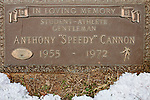 "Pamela Baker-King visits the gravesite of Anthony Speedy Cannon in Jacksonville, Alabama...In a 1972 football game of Jacksonville High School vs Wellborn High School Anthony ""Speedy"" Cannon was served a fatal blow during a late hit. There was speculation over if it was racially driven."
