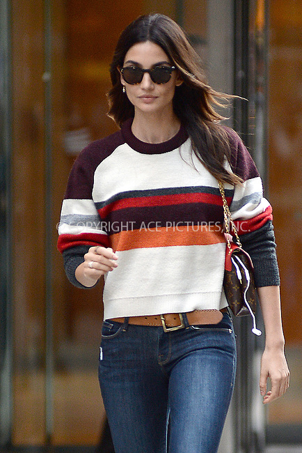 www.acepixs.com<br /> November 1, 2016  New York City<br /> <br /> Lily Aldridge leaving a fitting at Victoria's Secret in Midtown on November 1, 2016 in New York City.<br /> <br /> <br /> Credit: Kristin Callahan/ACE Pictures<br /> <br /> <br /> Tel: 646 769 0430<br /> Email: info@acepixs.com