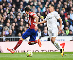 Real Madrid´s Lucas Vazquez and Atletico de Madrid´s Gimenez during 2015/16 La Liga match between Real Madrid and Atletico de Madrid at Santiago Bernabeu stadium in Madrid, Spain. February 27, 2016. (ALTERPHOTOS/Javier Comos)
