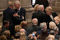 Former Vice President Al Gore, left, greets former President Bill Clinton, second from left, as his wife, former Secretary of State Hillary Clinton, right, greets former Vice President Joe Biden, bottom center, before a State Funeral for former President George H.W. Bush at the National Cathedral, Wednesday, Dec. 5, 2018, in Washington. Also pictured is former President Jimmy Carter, second from right. <br /> Credit: Andrew Harnik / Pool via CNP / MediaPunch