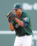 LHP Cesar Cabral (47) of the Greenville Drive, Class A affiliate of the Boston Red Sox, at a game against the West Virginia Power May 2, 2010, at Fluor Field at the West End in Greenville, S.C.