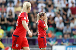 Olympique Lyonnais' Eugenie Le Sommer (r) and Ada Hegerberg dejected during UEFA Women's Champions League 2015/2016 Final match.May 26,2016. (ALTERPHOTOS/Acero)