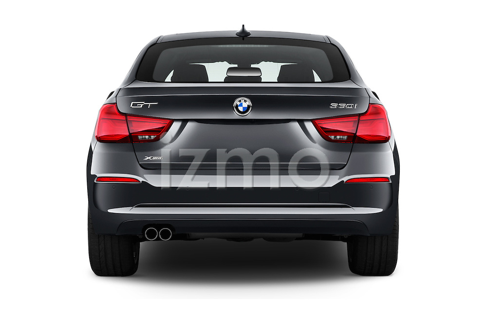 Straight rear view of 2017 BMW 3-Series-GT Sport 5 Door Hatchback Rear View  stock images