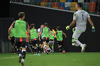 Udinese players celebrate after victory during the Serie A football match between Udinese Calcio and Juventus FC at Friuli stadium in Udine (Italy), July 23th, 2020. Play resumes behind closed doors following the outbreak of the coronavirus disease. Photo Federico Tardito / Insidefoto