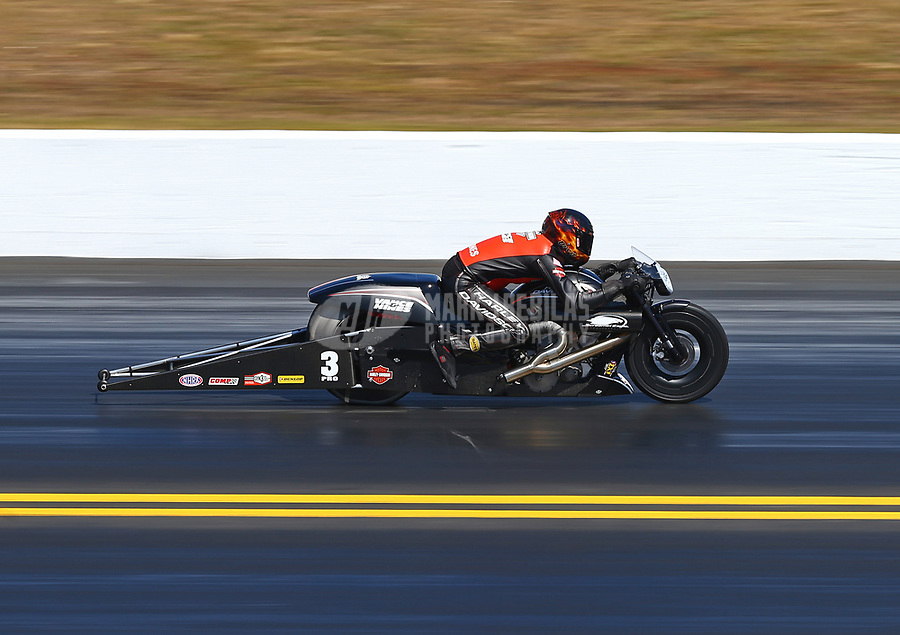 Mar 19, 2017; Gainesville , FL, USA; NHRA pro stock motorcycle rider Andrew Hines during the Gatornationals at Gainesville Raceway. Mandatory Credit: Mark J. Rebilas-USA TODAY Sports