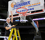 SIOUX FALLS, SD: MARCH 7: Tournament MVP Emily Clemens from the Western Illinois Leathernecks holds up her piece of the net after their 77-69 overtime win over IUPUI in the Women's Summit League Basketball Championship on March 7, 2017 at the Denny Sanford Premier Center in Sioux Falls, SD. (Photo by Dave Eggen/Inertia)