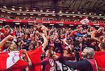 Solna 2015-09-08 Fotboll EM-kval , Sverige - &Ouml;sterrike :  <br /> &Ouml;sterrikes supportrar jublar med &Ouml;sterrikes spelare efter matchen mellan Sverige och &Ouml;sterrike <br /> (Photo: Kenta J&ouml;nsson) Keywords:  Sweden Sverige Solna Stockholm Friends Arena EM Kval EM-kval UEFA Euro European 2016 Qualifying Group Grupp G &Ouml;sterrike Austria jubel gl&auml;dje lycka glad happy