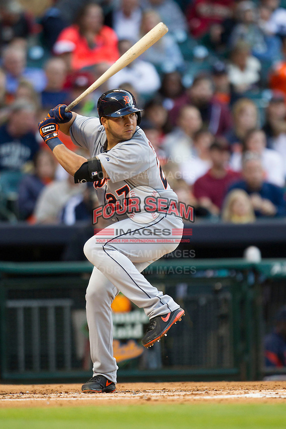 Detroit Tigers shortstop Jhonny Peralta (27) at bat during the MLB baseball game against the Houston Astros on May 3, 2013 at Minute Maid Park in Houston, Texas. Detroit defeated Houston 4-3. (Andrew Woolley/Four Seam Images).
