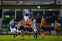 Blackpool's Armand Gnanduillet gets a header on goal<br /> <br /> Photographer Craig Mercer/CameraSport<br /> <br /> The EFL Sky Bet League Two Play-Off Semi Final Second Leg - Luton Town v Blackpool - Thursday 18th May 2017 - Kenilworth Road - Luton<br /> <br /> World Copyright &copy; 2017 CameraSport. All rights reserved. 43 Linden Ave. Countesthorpe. Leicester. England. LE8 5PG - Tel: +44 (0) 116 277 4147 - admin@camerasport.com - www.camerasport.com