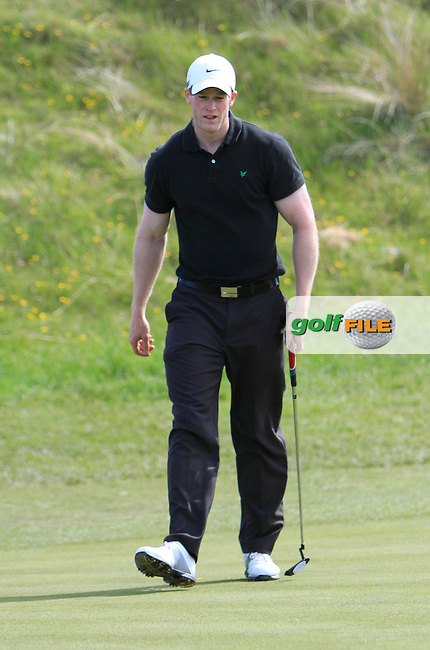 Paul Reavey (Warrenpoint) on the 15th green during the 4th round of the East of Ireland Amateur Open Championship 2013 Co Louth Golf club 3/6/13<br /> Picture:  Thos Caffrey / www.golffile.ie