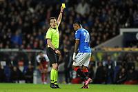 Alfredo Morelos of Rangers is shown a yellow card during Rangers vs SC Braga, UEFA Europa League Football at Ibrox Stadium on 20th February 2020