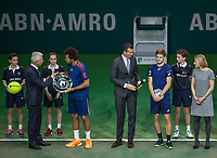 Februari 19, 2017, Netherlands, Rotterdam, Ahoy, ABNAMROWTT, Prizegiving: winner Jo-Winfried Tsonga (FRA) and right runner up  David Goffin (BEL)<br /> Photo: Tennisimages/Henk Koster