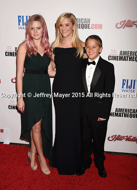 LOS ANGELES, CA - OCTOBER 30: Actress Reese Witherspoon (C), daughter Ava Phillippe and son Deacon Phillippe arrive at the 29th American Cinematheque Award honoring Reese Witherspoon at the Hyatt Regency Century Plaza on October 30, 2015 in Los Angeles, California.