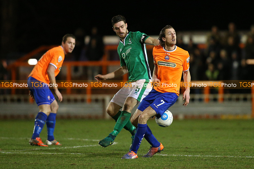 Jack Midson of Braintree Town and Luke Waterfall of Lincoln City during Braintree Town vs Lincoln City, Vanarama National League Football at the IronmongeryDirect Stadium on 7th March 2017