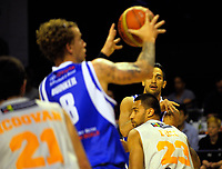 Tai Wesley passes to Joshua Duinker during the national basketball league match between Wellington Saints and Taylor Hawks at TSB Bank Arena in Wellington, New Zealand on Friday, 17 March 2017. Photo: Dave Lintott / lintottphoto.co.nz