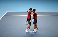 17th November 2019; O2 Arena, London, England; Nitto ATP Tennis Finals; Pierre-Hugues Herbert (FRA) and Nicolas Mahut (FRA) celebrate their victory after defeating Raven Klaasen (RSA) and Michael Venus (NZL) - Editorial Use