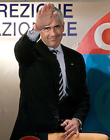 Il leader dell'Udc Pierferdinando Casini saluta dopo aver parlato alla Direzione Nazionale del partito a Roma, 14 febbraio 2008..Udc center-right caholic party's leader Pierferdinando Casini waves after speaking during the National Direction of the party in Rome, 14 february 2008..UPDATE IMAGES PRESS/Riccardo De Luca