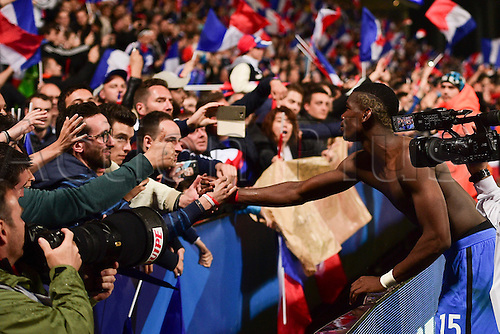 04.06.2016. Stade Saint Symphorien, Metz, France. International football freindly,France versus Scotland.  Paul Pogba (France) celebrates at end of game