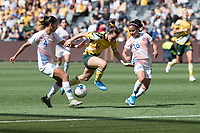9th November 2019; Bankwest Stadium, Parramatta, New South Wales, Australia; International Womens Friendly Football, Australia versus Chile; Francisca Lara and Francisca Mardones of Chile block the run from Hayley Raso of Australia - Editorial Use