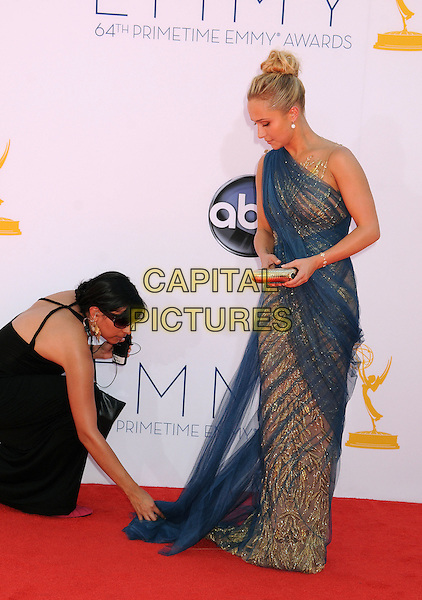 Hayden Panettiere.The 64th Anual Primetime Emmy Awards - Arrivals, held at Nokia Theatre L.A. Live in Los Angeles, California, USA..September 23rd, 2012.emmys full length dress gold tulle one shoulder sari blue clutch bag stylist side profile adjusting looking down funny .CAP/ADM/BP.©Byron Purvis/AdMedia/Capital Pictures.