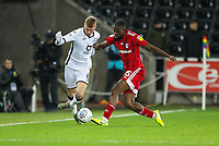 29th November 2019; Liberty Stadium, Swansea, Glamorgan, Wales; English Football League Championship, Swansea City versus Fulham; Jay Fulton of Swansea City and Josh Onomah of Fulham jostle for the ball - Strictly Editorial Use Only. No use with unauthorized audio, video, data, fixture lists, club/league logos or 'live' services. Online in-match use limited to 120 images, no video emulation. No use in betting, games or single club/league/player publications