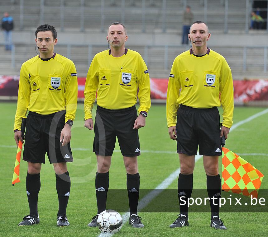 Belgium U19 - England U19 : Hrvoje Turudic (right) , Emir Aleckovic and Remy Zgraggen (left).foto DAVID CATRY / Nikonpro.be