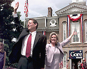 Carthage, TN - June 16, 1999 -- United States Vice President Al Gore and his wife, Tipper, wave to supporters from the courthouse in Carthage, Tennessee on Wednesday, June 16, 1999 for the official announcement of Gore's candidacy for the 2000 Democratic nomination for President of the United States..Credit: Ron Sachs / CNP
