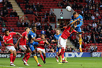 Carlton Morris of Shrewsbury Town heads the ball towards the Charlton goal during Charlton Athletic vs Shrewsbury Town, Sky Bet EFL League 1 Play-Off Football at The Valley on 10th May 2018