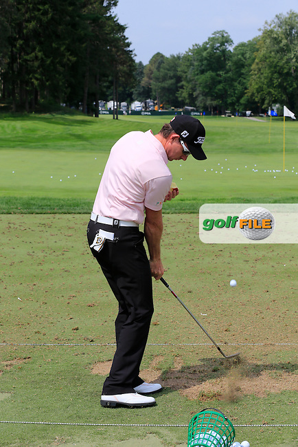 Brett Rumford (AUS) on the practice range during Wednesday's Practice Day of the 95th US PGA Championship 2013 held at Oak Hills Country Club, Rochester, New York.<br /> 7th August 2013.<br /> Picture: Eoin Clarke www.golffile.ie