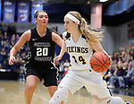 SIOUX FALLS, SD: MARCH 12:  Abby Hora #14 of Augustana drives past Megan Skaggs #20 of Central Missouri during the 2018 NCAA Division II Women's Basketball Central Region Championship Monday at the Elmen Center in Sioux Falls, S.D. (Photo by DIck Carlson/Inertia)