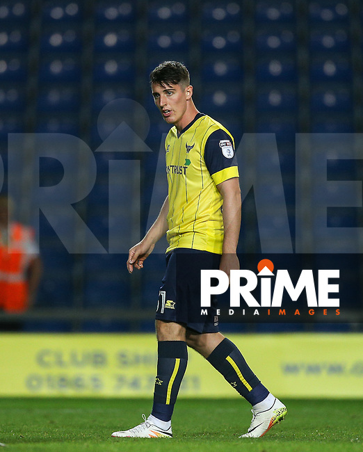 James Roberts of Oxford United during the The Checkatrade Trophy match between Oxford United and Exeter City at the Kassam Stadium, Oxford, England on 30 August 2016. Photo by Andy Rowland / PRiME Media Images.