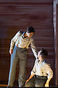 Les Arts Florissants present, DAVID ET JONATHAS, at the Festival Theatre, as part of the Edinburgh International Festival. Picture shows: Ana Quintans (standing; as Jonathas) and Pascal Charbonneau (kneeling; as David).