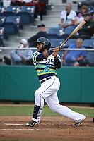 Onil Pena (22) of the Everett AquaSox bats against the Boise Hawks at Everett Memorial Stadium on July 21, 2017 in Everett, Washington. Boise defeated Everett, 10-4. (Larry Goren/Four Seam Images)