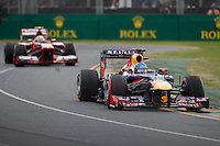 MELBOURNE, 17 MARCH - Sebastian Vettel (DEU) from the Infiniti Red Bull Racing team goes through turn one in the 2013 Formula One Rolex Australian Grand Prix at the Albert Park Circuit in Melbourne, Australia. Photo Sydney Low/syd-low.com
