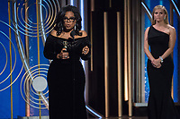 Oprah Winfrey accepts the Cecil B. DeMille Award for her &ldquo;outstanding contribution to the entertainment field&rdquo; at the 75th Annual Golden Globe Awards at the Beverly Hilton in Beverly Hills, CA on January 7, 2018.<br /> *Editorial Use Only*<br /> CAP/PLF/HFPA<br /> &copy;HFPA/PLF/Capital Pictures