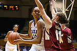 17 January 2016: Duke's Azura Stevens (left) and Boston College's Nicole Boudreau (right). The Duke University Blue Devils hosted the Boston College Eagles at Cameron Indoor Stadium in Durham, North Carolina in a 2015-16 NCAA Division I Women's Basketball game. Duke won the game 71-51.