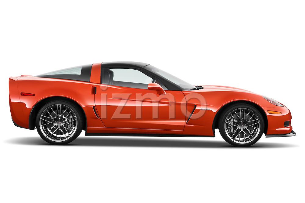Passenger side profile view of a 2011 Chevrolet Corvette Z06.