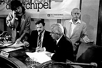 August 23, 1985 File Photo - Guy Descary, Mayor, lachine , Rene Levesque, Premier, Quebec and Jacques Brassard, Environment Minister, Quebec unveil the Project Archipel during a news conference at Lachine City Hall.<br /> <br /> The project proposed a vision for the future of al rivers, lake and small island surrounding Montreal island