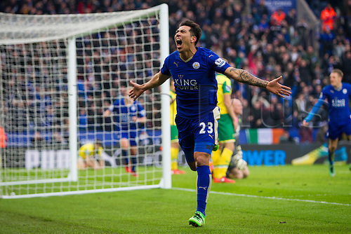 27.02.2016. King Power Stadium, Leicester, England. Barclays Premier League. Leicester City versus Norwich City. Leonardo Ulloa of Leicester City celebrates his goal in the last minute of the game