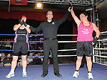 Mary Cluskey beat Martina Friel in the Tullyallen white collar boxing. Photo: Colin Bell/pressphotos.ie