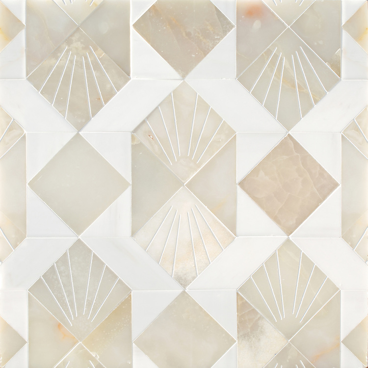Lawrence, a waterjet stone mosaic, shown in honed White Onyx and Dolomite, is part of the Bright Young Things™ collection by New Ravenna.
