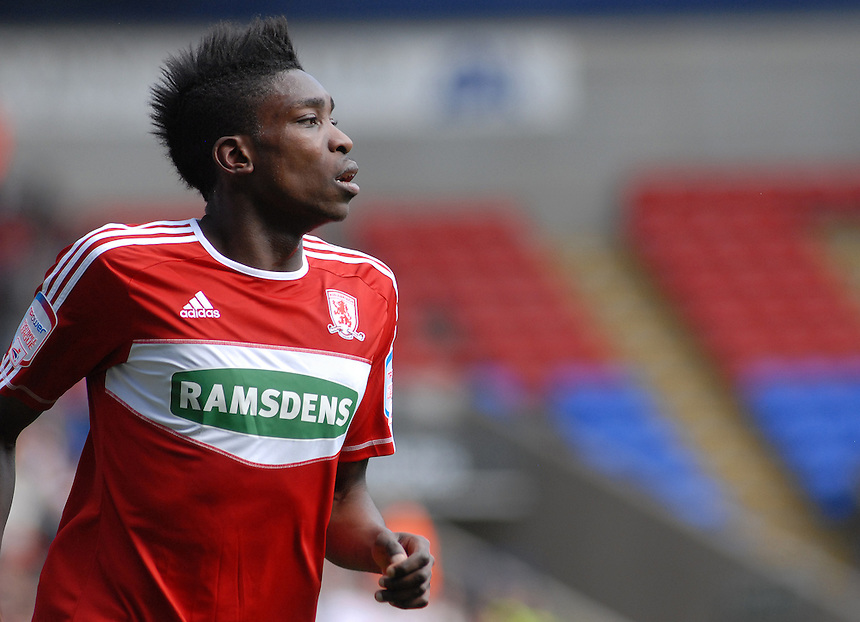 Middlesbrough's Sammy Ameobi .. - (Photo by Jo Gray/CameraSport) - ..Football - npower Football League Championship - Bolton Wanderers v Middlesbrough - Saturday 20th April 2013 - Reebok Stadium - Bolton..© CameraSport - 43 Linden Ave. Countesthorpe. Leicester. England. LE8 5PG - Tel: +44 (0) 116 277 4147 - admin@camerasport.com - www.camerasport.com