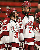 Conor Morrison (Harvard - 38), Petr Placek (Harvard - 27) - The Class of 2013 was celebrated following the final Harvard Crimson home game of the season on Saturday, March 2, 2013, at Bright Hockey Center in Cambridge, Massachusetts.